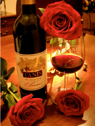 wine and roses at Tanis Winery Ione California
